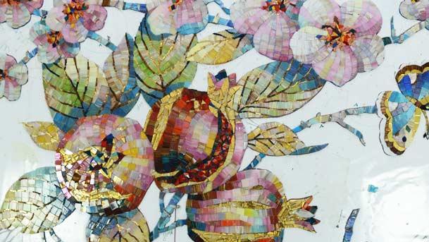 фрагмент цветы из мозаики