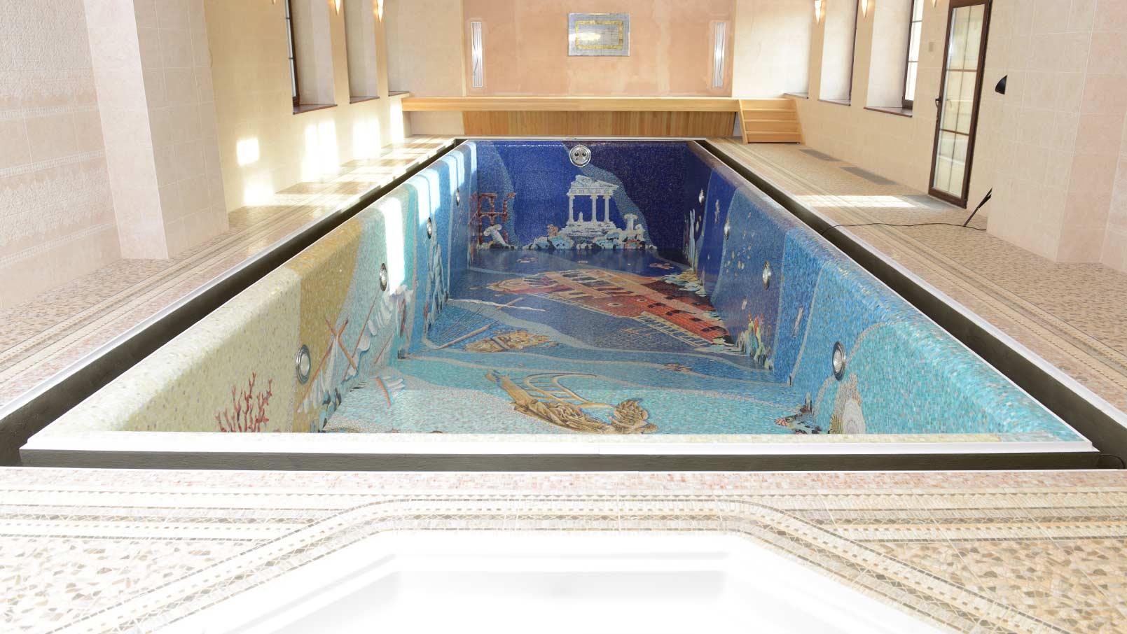 Мозаика с плиткой в бассейне дизайн фото