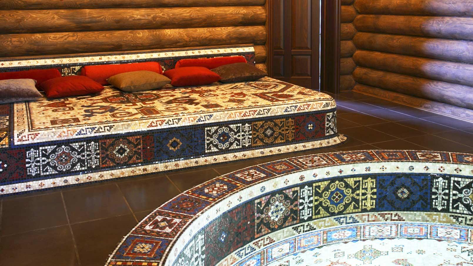 купель из мозаичного панно для ванной