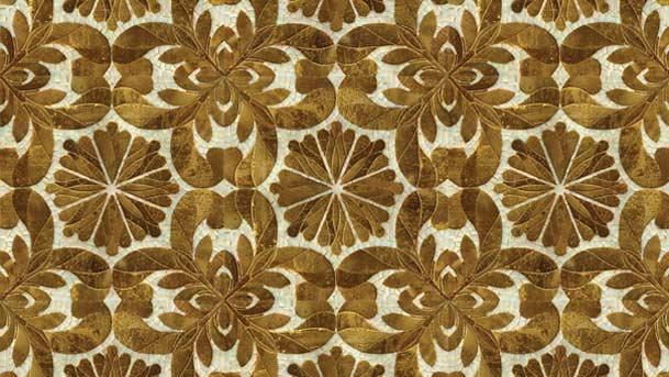 Мозаичное панно из золотой мозаики и смальты на стену и на пол